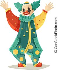 Funny Traveling Circus Clown Colorful Icon - Traveling...