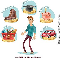 Family Budget Planning Flat Composition Poster - Family...