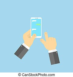 Hands with mobile phone SMS chat.