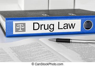 Blue folder with the label Drug Law