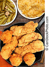 Fried Chicken, Hash Brown Casserole and Green Beans on...