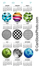 A 2017 calendar with nine abstract globes for print or web...