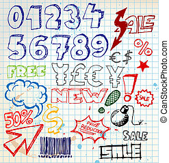 Set of colorful doodle eshop / advert elements on squared...
