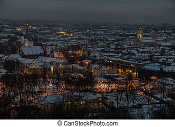 Vilnius winter aerial panorama of Old town.