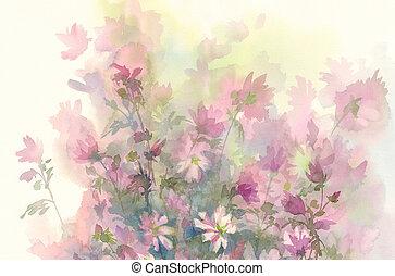 pink flower watercolor background - Chicory flower, bud,...
