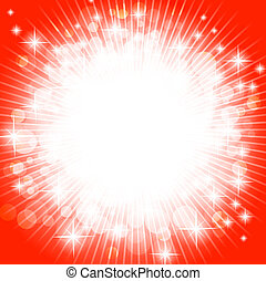 holiday - bright abstract explosion over red, copyspace