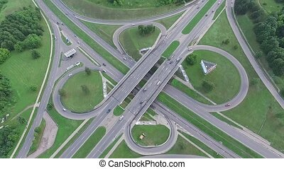 Aerial View Over Viaduct Crossroad, Double Speed - Aerial HD...