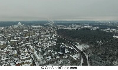 Aerial View Over The City Near River, Winter 6