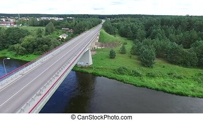 Panorama Over The Bridge Near River - Aerial HD High Quality...