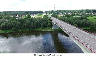 Flight Along The Bridge Through River 1 - Aerial HD High...