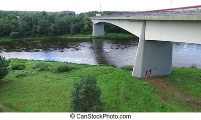 Flight Along The Bridge Through River 3 - Aerial HD High...