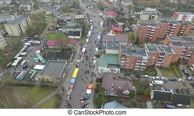 Flight Over Small Town Near River, Fair On Street 3