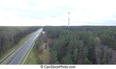 Panorama Over The Highway Near The Forest 8