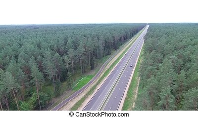 Panorama Over The Highway Near The Forest 4