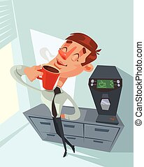 Coffee break. Happy office worker. Vector flat cartoon...