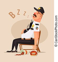 Police guard man character sleep. Vector flat cartoon...