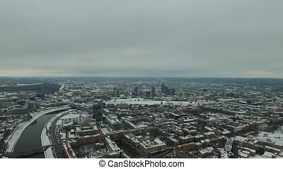 Aerial View Over The City Near River, Winter 8