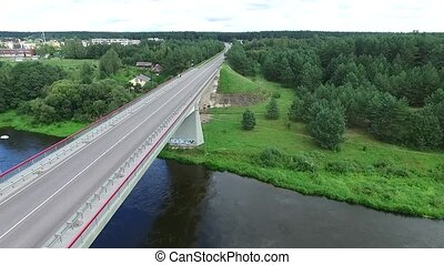 Flight Along The Bridge Through River - Aerial HD High...