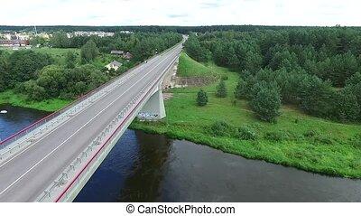 Flight Along The Bridge Through River - Aerial HD High...