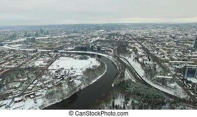 Aerial View Over The City Near River, Winter 3