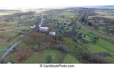 Flight Over The Country Near Church 1 - Aerial HD High...
