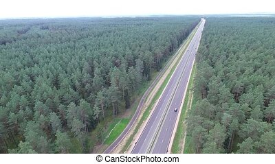 Panorama Over The Highway Near The Forest 5