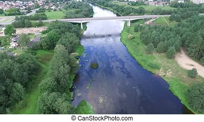 Flying Above River And The Bridge - Aerial HD High Quality...