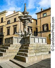 HDR Fontana Maggiore fountain in Viterbo - VITERBO, ITALY -...