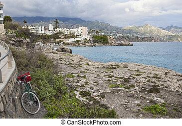 Old fisher bike near Balcon de Europa, Nerja, Spain - Old...