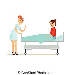 Doctor Examining The Patient Laying On Hospital Bed, Hospital And Healthcare Illustration