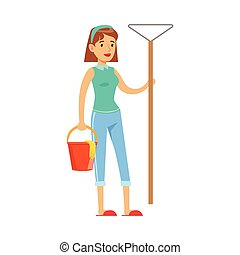 Woman Housewife With Bucket OF Water And Broom Ready To Clean, Classic Household Duty Of Staying-at-home Wife Illustration