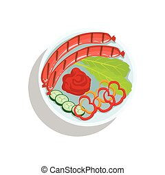 Sausages With Ketchup And Fresh Vegetables, Oktoberfest Grill Food Plate Illustration