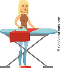 Woman Housewife Ironing The Clothes On Ironing Board,...
