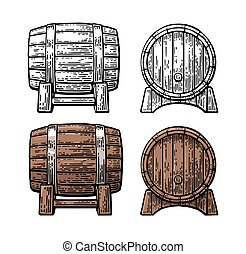 Wooden barrel front and side view engraving vector...