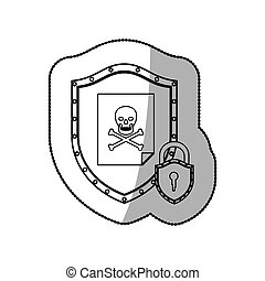 Skull on shield