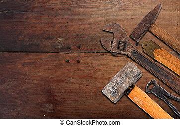 工具, 集合, 老, 手