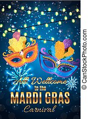 Mardi Gras Party Mask Holiday Poster Background. Vector...