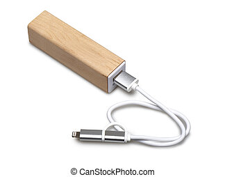 Wooden portable external power bank, for emergency phone...