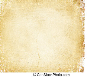 Grunge vintage paper background. Isolated edge on white.