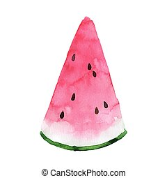 Vector Watercolor Watermelon - Vector Illustration of a Hand...