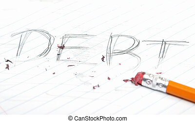 Erasing Debt - A concept of getting rid of debt, using a...