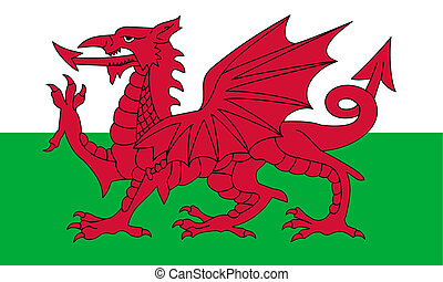 Wales Flag - Wales flag or national emblem, isolated on...