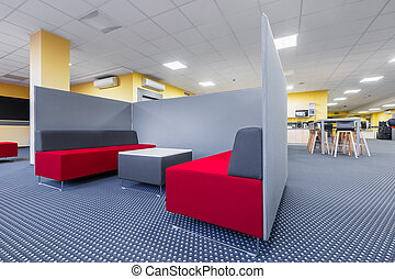Library lounge area with partition