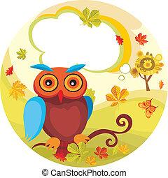 autumn card - vector illustration of a autumn card