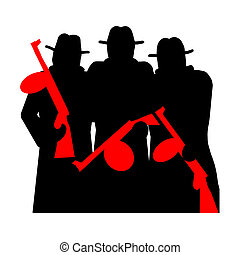 Gangsters with Tommy Gun silhouette illustration isolated...