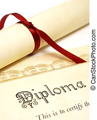 Students Success - A diploma over white represents a high...