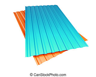 red and blue corrugated metal sheet on a white background 3D...