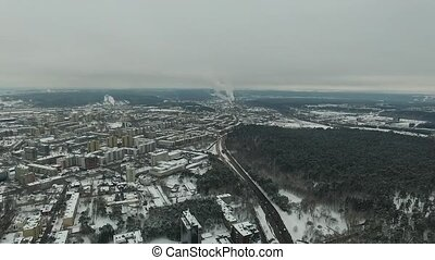 Aerial View Over The City, Winter