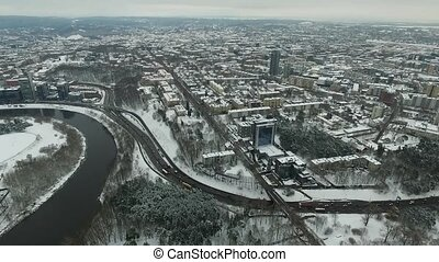 Aerial View Over The City Near River, Winter 5