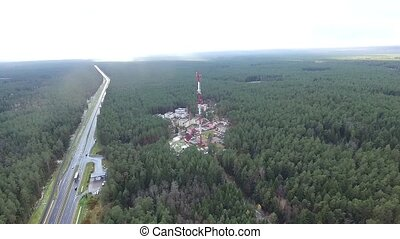Flight Over The Highway, Tv Tower And Forest 2 - Aerial HD...